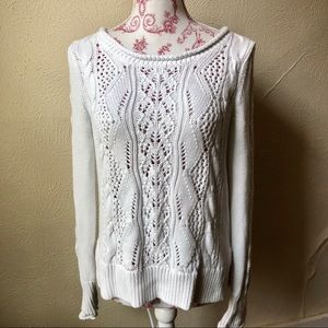 Gap Knit Sweater M White 100% Cotton